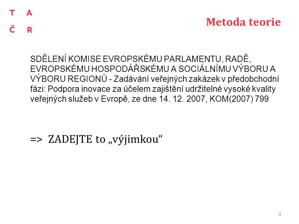 Metoda praxe Bojíme se výjimky (vazba na 130/2002 Sb.) TAČR, Minitendry a ÚOHS-S407/2014/VZ- 16723/2014/511/Abr nový zákon o Zadávání veřejných zakázek 5