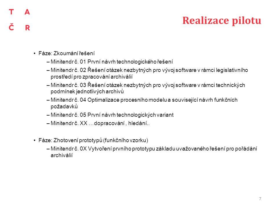 Realizace pilotu Fáze: Zkoumání řešení –Minitendr č. 01 První návrh technologického řešení –Minitendr č. 02 Řešení otázek nezbytných pro vývoj softwar