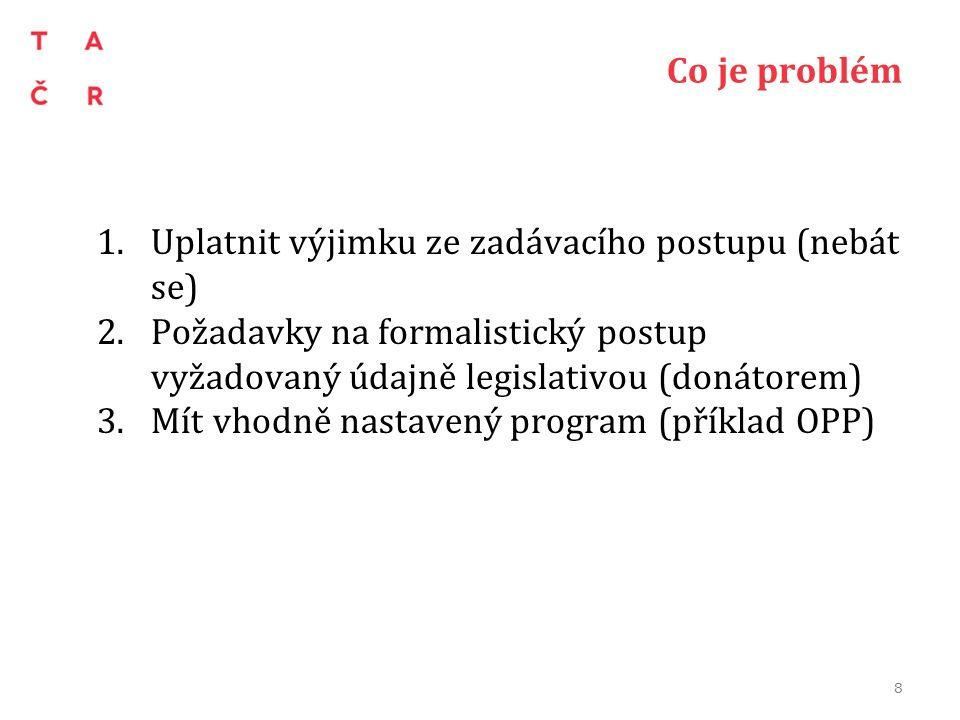 Co je problém 1.Uplatnit výjimku ze zadávacího postupu (nebát se) 2.Požadavky na formalistický postup vyžadovaný údajně legislativou (donátorem) 3.Mít