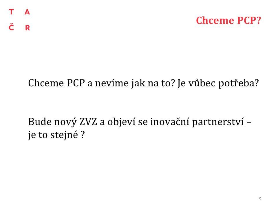 Chceme PCP? Chceme PCP a nevíme jak na to? Je vůbec potřeba? Bude nový ZVZ a objeví se inovační partnerství – je to stejné ? 9