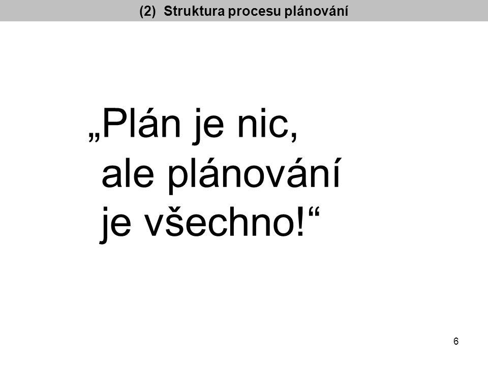 """(2) Struktura procesu plánování """"Plán je nic, ale plánování je všechno! 6"""