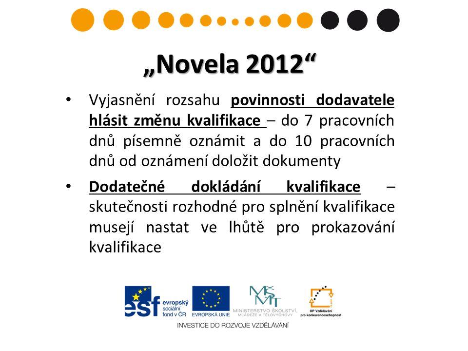 """""""Novela 2012 Vyjasnění rozsahu povinnosti dodavatele hlásit změnu kvalifikace – do 7 pracovních dnů písemně oznámit a do 10 pracovních dnů od oznámení doložit dokumenty Dodatečné dokládání kvalifikace – skutečnosti rozhodné pro splnění kvalifikace musejí nastat ve lhůtě pro prokazování kvalifikace"""