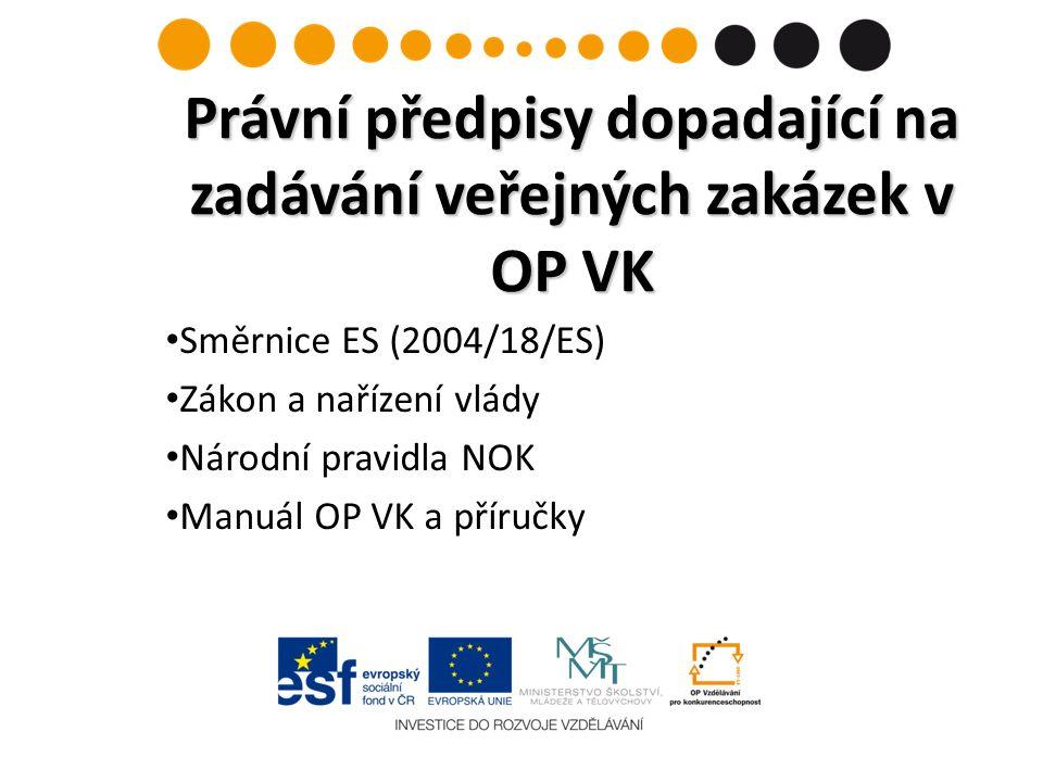 Směrnice ES (2004/18/ES) Zákon a nařízení vlády Národní pravidla NOK Manuál OP VK a příručky Právní předpisy dopadající na zadávání veřejných zakázek v OP VK