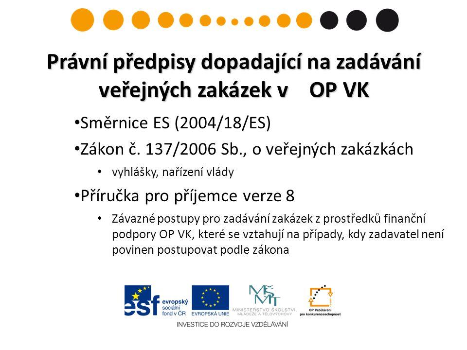 Směrnice ES (2004/18/ES) Zákon č. 137/2006 Sb., o veřejných zakázkách vyhlášky, nařízení vlády Příručka pro příjemce verze 8 Závazné postupy pro zadáv