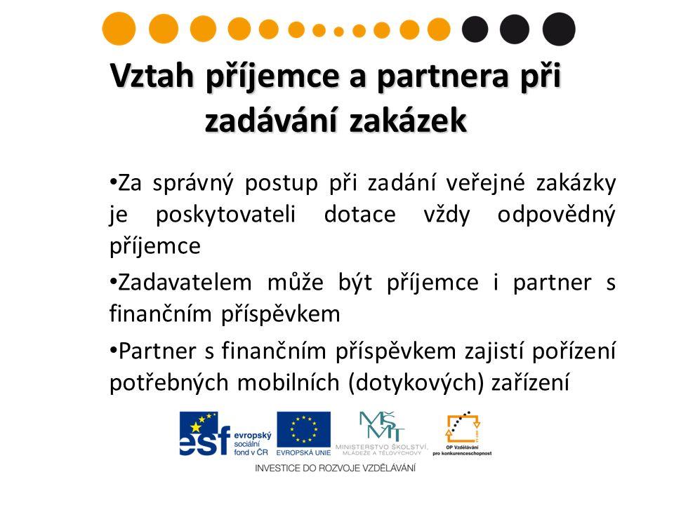 Za správný postup při zadání veřejné zakázky je poskytovateli dotace vždy odpovědný příjemce Zadavatelem může být příjemce i partner s finančním přísp