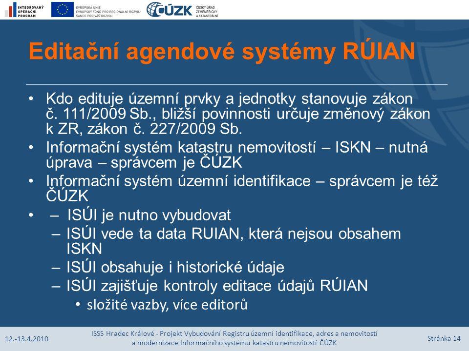 Editační agendové systémy RÚIAN Kdo edituje územní prvky a jednotky stanovuje zákon č.