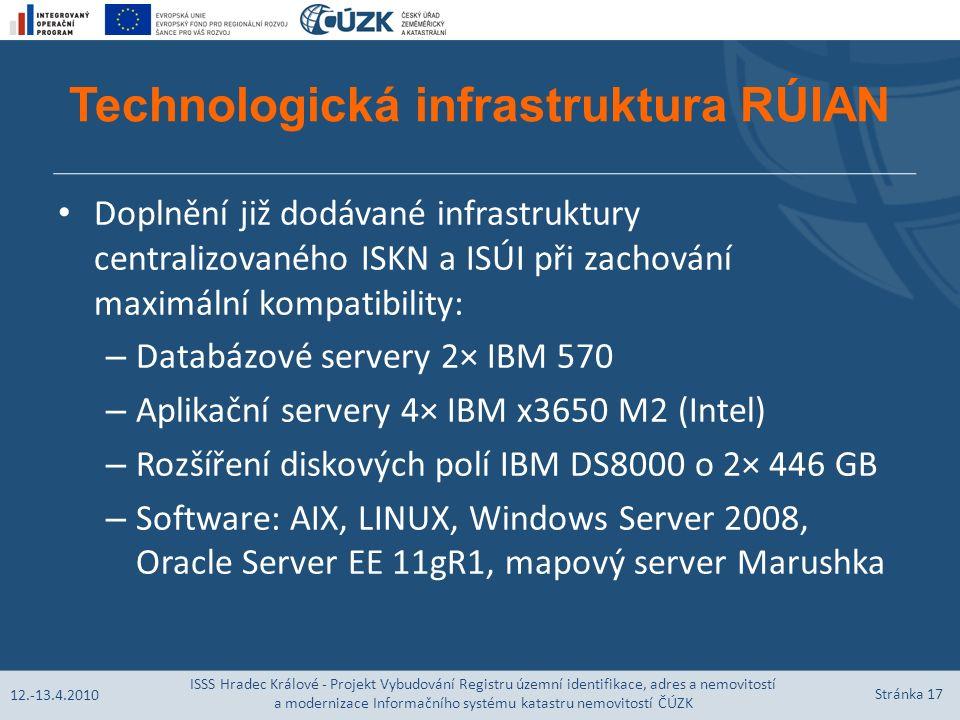 Technologická infrastruktura RÚIAN Doplnění již dodávané infrastruktury centralizovaného ISKN a ISÚI při zachování maximální kompatibility: – Databázové servery 2× IBM 570 – Aplikační servery 4× IBM x3650 M2 (Intel) – Rozšíření diskových polí IBM DS8000 o 2× 446 GB – Software: AIX, LINUX, Windows Server 2008, Oracle Server EE 11gR1, mapový server Marushka 12.-13.4.2010 ISSS Hradec Králové - Projekt Vybudování Registru územní identifikace, adres a nemovitostí a modernizace Informačního systému katastru nemovitostí ČÚZK Stránka 17