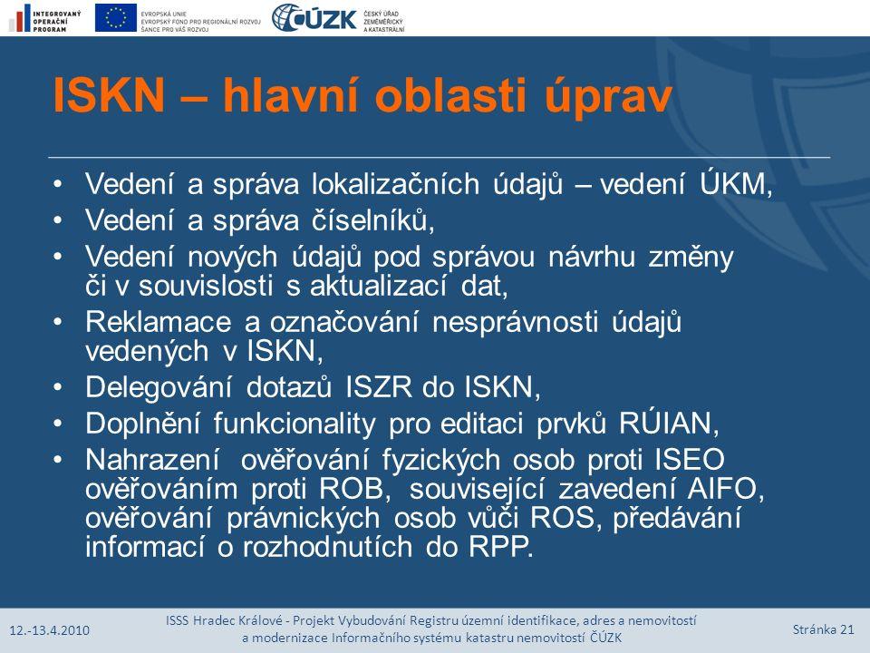 ISKN – hlavní oblasti úprav Vedení a správa lokalizačních údajů – vedení ÚKM, Vedení a správa číselníků, Vedení nových údajů pod správou návrhu změny či v souvislosti s aktualizací dat, Reklamace a označování nesprávnosti údajů vedených v ISKN, Delegování dotazů ISZR do ISKN, Doplnění funkcionality pro editaci prvků RÚIAN, Nahrazení ověřování fyzických osob proti ISEO ověřováním proti ROB, související zavedení AIFO, ověřování právnických osob vůči ROS, předávání informací o rozhodnutích do RPP.