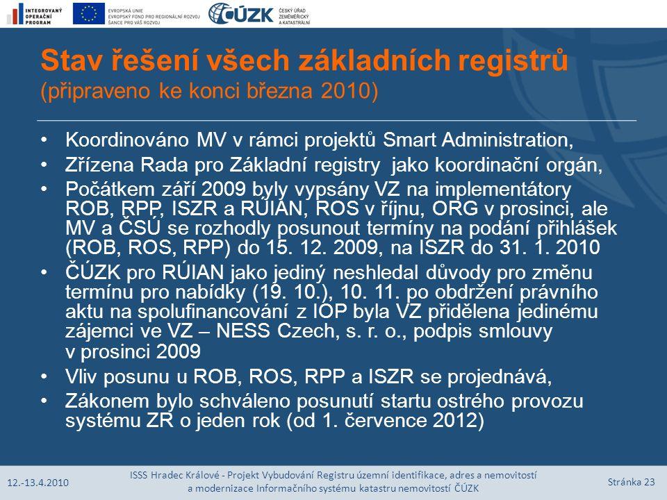 Stav řešení všech základních registrů (připraveno ke konci března 2010) Koordinováno MV v rámci projektů Smart Administration, Zřízena Rada pro Základní registry jako koordinační orgán, Počátkem září 2009 byly vypsány VZ na implementátory ROB, RPP, ISZR a RÚIAN, ROS v říjnu, ORG v prosinci, ale MV a ČSÚ se rozhodly posunout termíny na podání přihlášek (ROB, ROS, RPP) do 15.