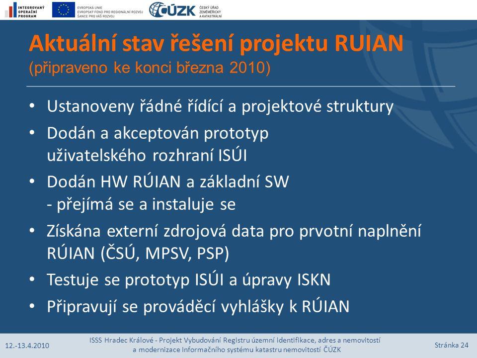 Aktuální stav řešení projektu RUIAN (připraveno ke konci března 2010) Ustanoveny řádné řídící a projektové struktury Dodán a akceptován prototyp uživatelského rozhraní ISÚI Dodán HW RÚIAN a základní SW - přejímá se a instaluje se Získána externí zdrojová data pro prvotní naplnění RÚIAN (ČSÚ, MPSV, PSP) Testuje se prototyp ISÚI a úpravy ISKN Připravují se prováděcí vyhlášky k RÚIAN 12.-13.4.2010 ISSS Hradec Králové - Projekt Vybudování Registru územní identifikace, adres a nemovitostí a modernizace Informačního systému katastru nemovitostí ČÚZK Stránka 24