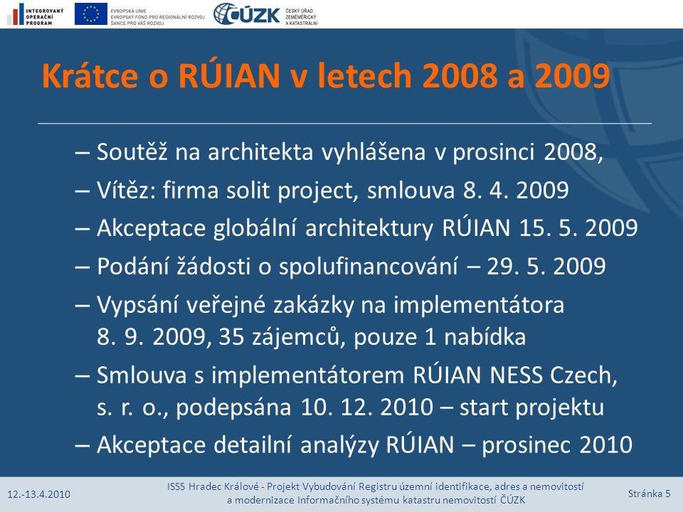 Krátce o RÚIAN v letech 2008 a 2009 – Soutěž na architekta vyhlášena v prosinci 2008, – Vítěz: firma solit project, smlouva 8.