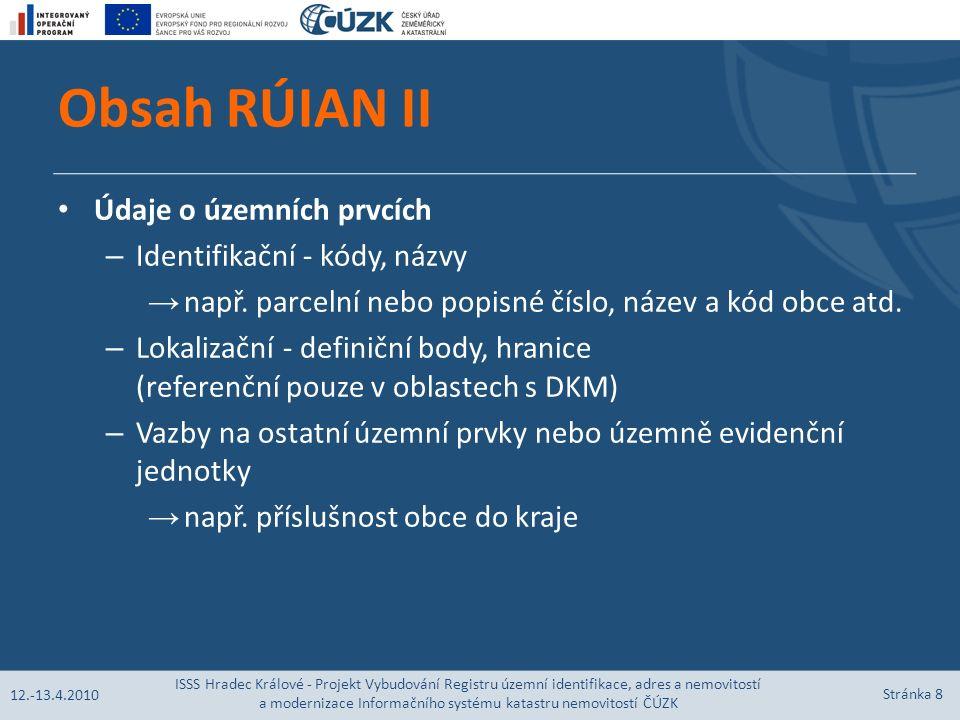 Obsah RÚIAN II Údaje o územních prvcích – Identifikační - kódy, názvy → např.