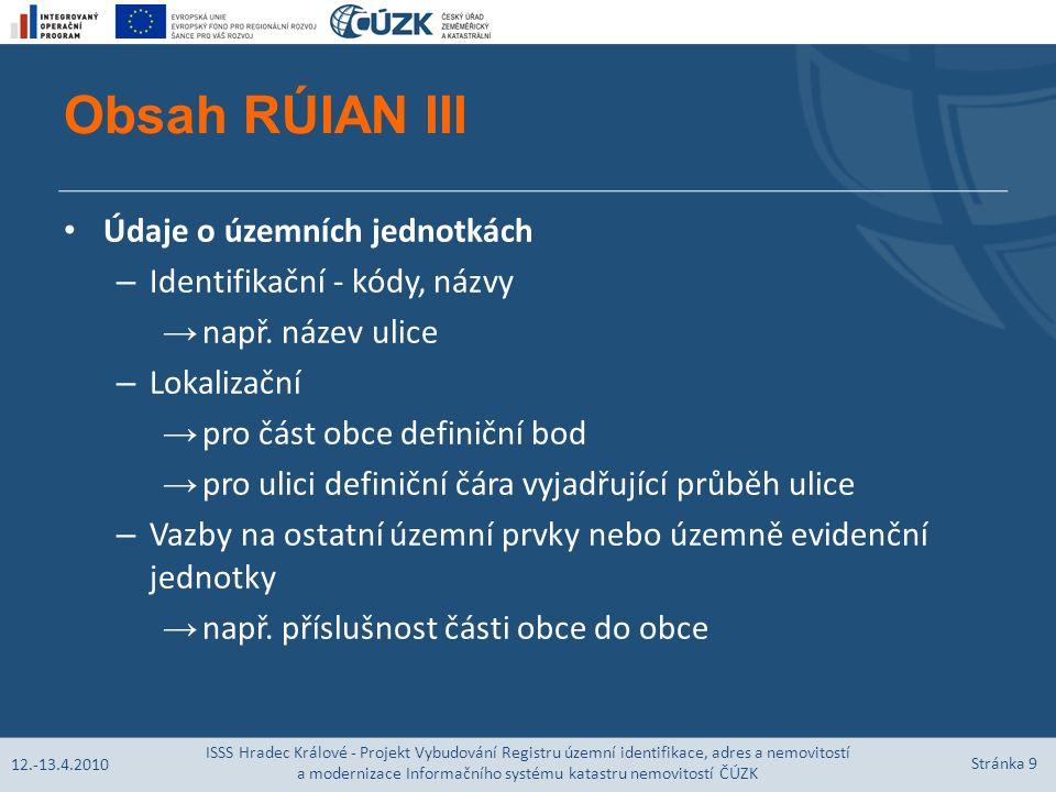 Obsah RÚIAN III Údaje o územních jednotkách – Identifikační - kódy, názvy → např.