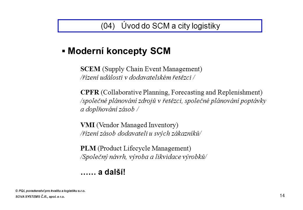 ▪ Moderní koncepty SCM CPFR (Collaborative Planning, Forecasting and Replenishment) /společné plánování zdrojů v řetězci, společné plánování poptávky a doplňování zásob / SCEM (Supply Chain Event Management) /řízení události v dodavatelském řetězci / VMI (Vendor Managed Inventory) /řízení zásob dodavateli u svých zákazníků/ PLM (Product Lifecycle Management) /Společný návrh, výroba a likvidace výrobků/ …… a další.