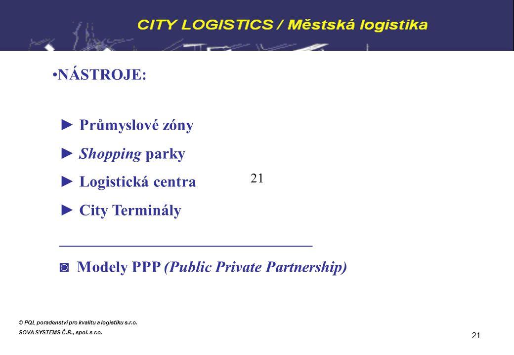 NÁSTROJE: ► Průmyslové zóny ► Shopping parky ► Logistická centra ► City Terminály ________________________________ ◙ Modely PPP (Public Private Partnership) © PQL poradenství pro kvalitu a logistiku s.r.o.