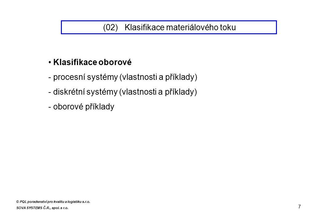 Klasifikace oborové - procesní systémy (vlastnosti a příklady) - diskrétní systémy (vlastnosti a příklady) - oborové příklady 7 © PQL poradenství pro kvalitu a logistiku s.r.o.
