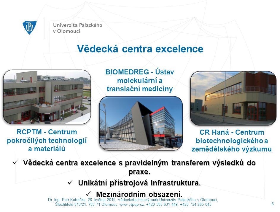 Dr. Ing. Petr Kubečka, 26. května 2015, Vědeckotechnický park Univerzity Palackého v Olomouci, Šlechtitelů 813/21. 783 71 Olomouc, www.vtpup-cz, +420