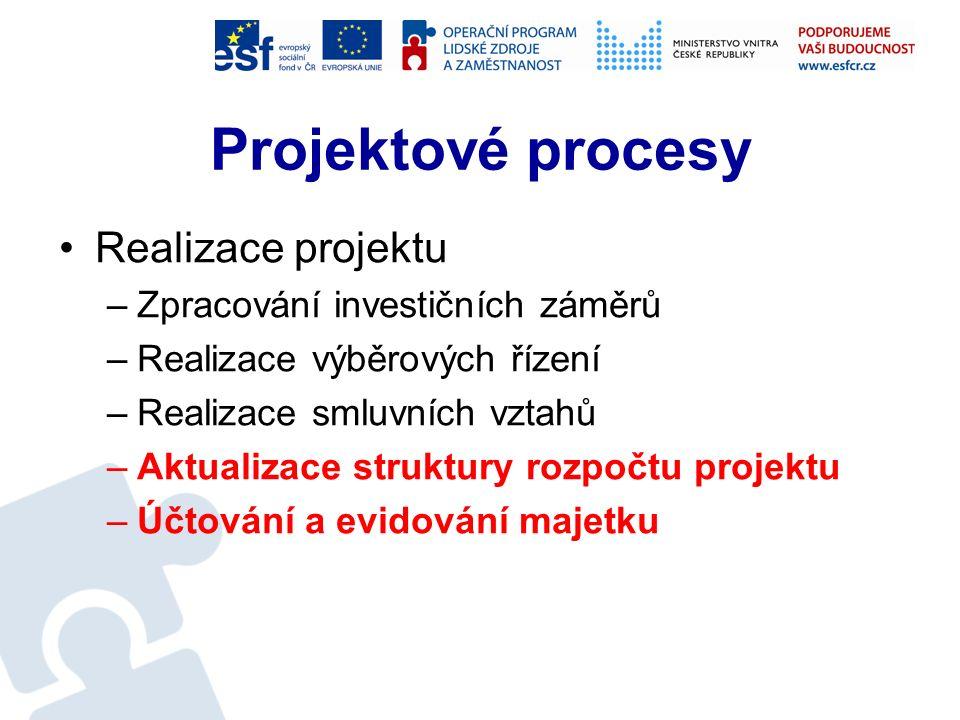 Projektové procesy Příprava projektu –Definování finanční náročnosti na realizaci projektu –Definování etapyzace –Definování parametrů udržitelnosti a odhad potřeby finančních prostředků na udržitelnost