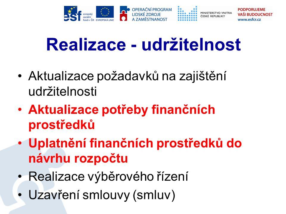 Realizace - účetnictví Průběžná kontrola zaúčtování Realizace rozpočtových opatření Zařazení dokončeného majetku do užívání (zpracování protokolu) Závěrečné vyhodnocení investiční akce