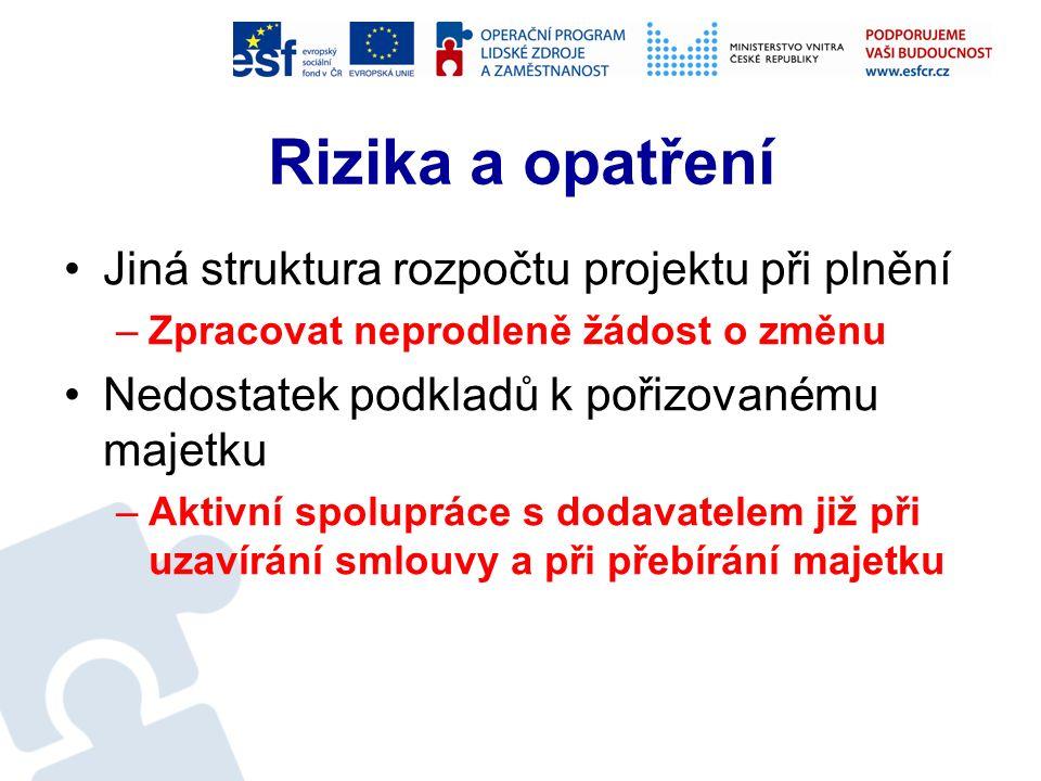 Realizace - udržitelnost Aktualizace požadavků na zajištění udržitelnosti Aktualizace potřeby finančních prostředků Uplatnění finančních prostředků do návrhu rozpočtu Realizace výběrového řízení Uzavření smlouvy (smluv)
