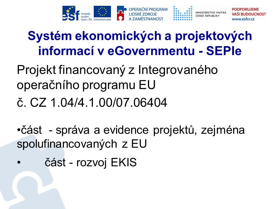 Systém ekonomických a projektových informací v eGovernmentu - SEPIe