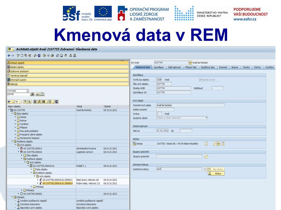 Správa nemovitostí Neúčetní část (bez vazby na účetní okruh) - podrobná data o nemovitém majetku; Účetní část (vazba na účetní okruh) − financování provozu − evidence majetku s vazbou na modul AM − zúčtování odpisů z AM − rozúčtování nákladů na objekty REM − zúčtování nákladů na organizační NS