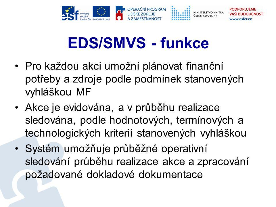 EDS/SMVS Evidenční dotační systém (EDS) Správa majetku ve vlastnictví státu (SMVS) Systém je určen pro vstup a zpracování dat části státního rozpočtu s vazbou na IISSP Je využíván na jednotlivých ministerstvech s přímým napojením na Ministerstvo financí ČR, kde slouží k centrálnímu zpracování podkladů pro tvorbu plánu výdajů SR a evidování dotací