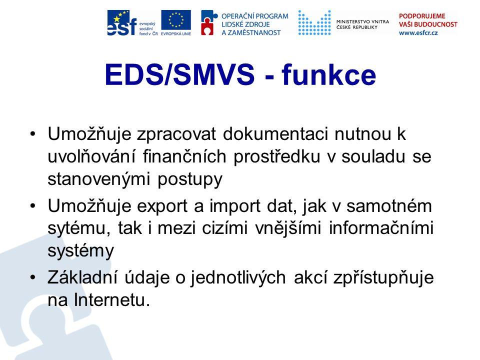 EDS/SMVS - funkce Pro každou akci umožní plánovat finanční potřeby a zdroje podle podmínek stanovených vyhláškou MF Akce je evidována, a v průběhu realizace sledována, podle hodnotových, termínových a technologických kriterií stanovených vyhláškou Systém umožňuje průběžné operativní sledování průběhu realizace akce a zpracování požadované dokladové dokumentace