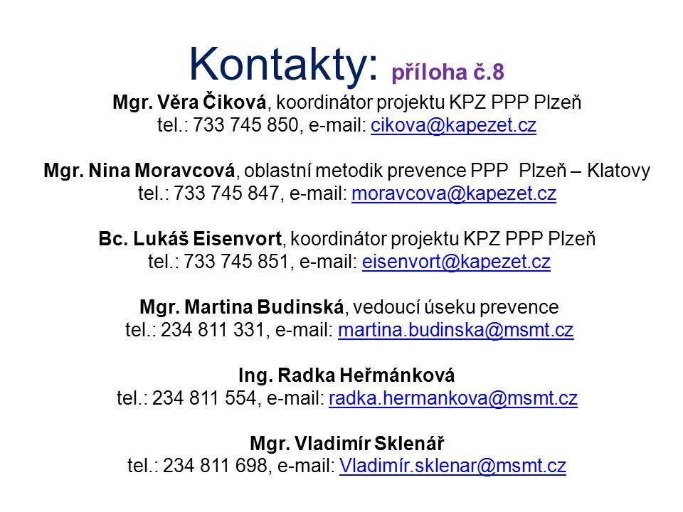 Kontakty: příloha č.8 Mgr. Věra Čiková, koordinátor projektu KPZ PPP Plzeň tel.: 733 745 850, e-mail: cikova@kapezet.czcikova@kapezet.cz Mgr. Nina Mor