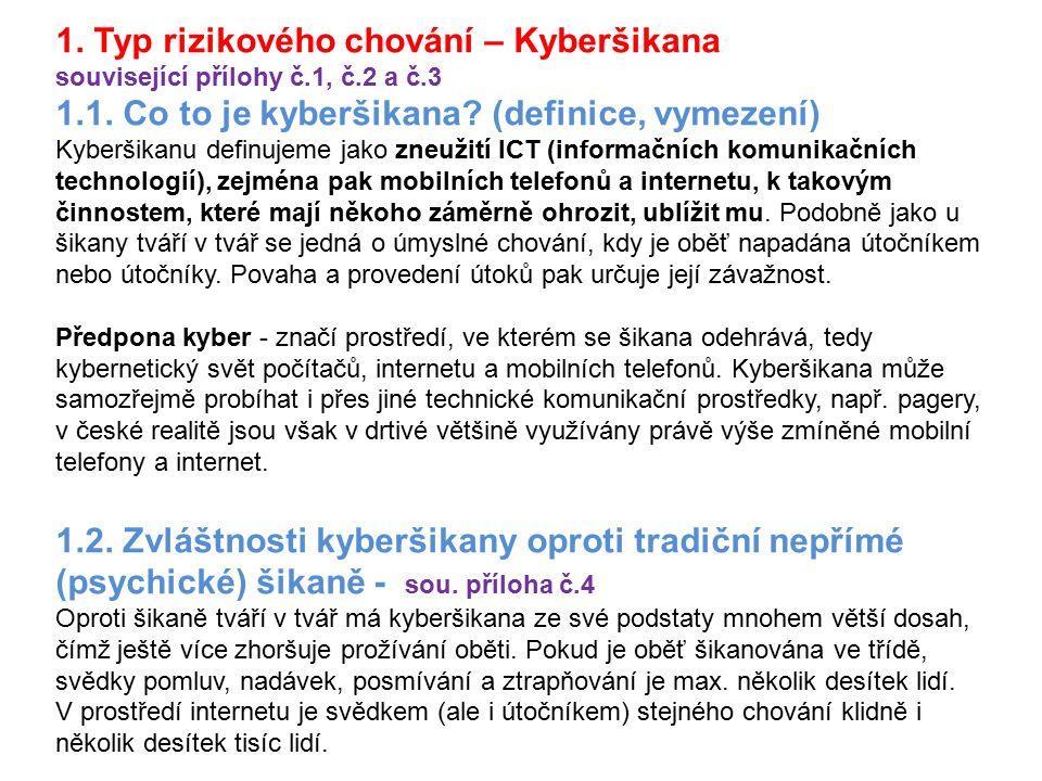 1. Typ rizikového chování – Kyberšikana související přílohy č.1, č.2 a č.3 1.1. Co to je kyberšikana? (definice, vymezení) Kyberšikanu definujeme jako