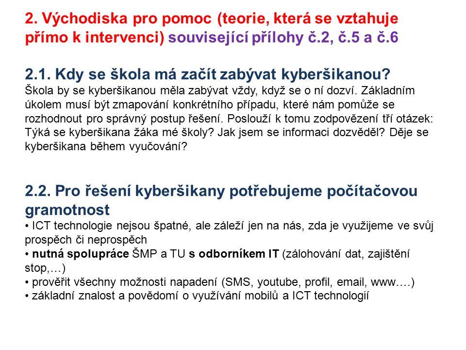 2. Východiska pro pomoc (teorie, která se vztahuje přímo k intervenci) související přílohy č.2, č.5 a č.6 2.1. Kdy se škola má začít zabývat kyberšika