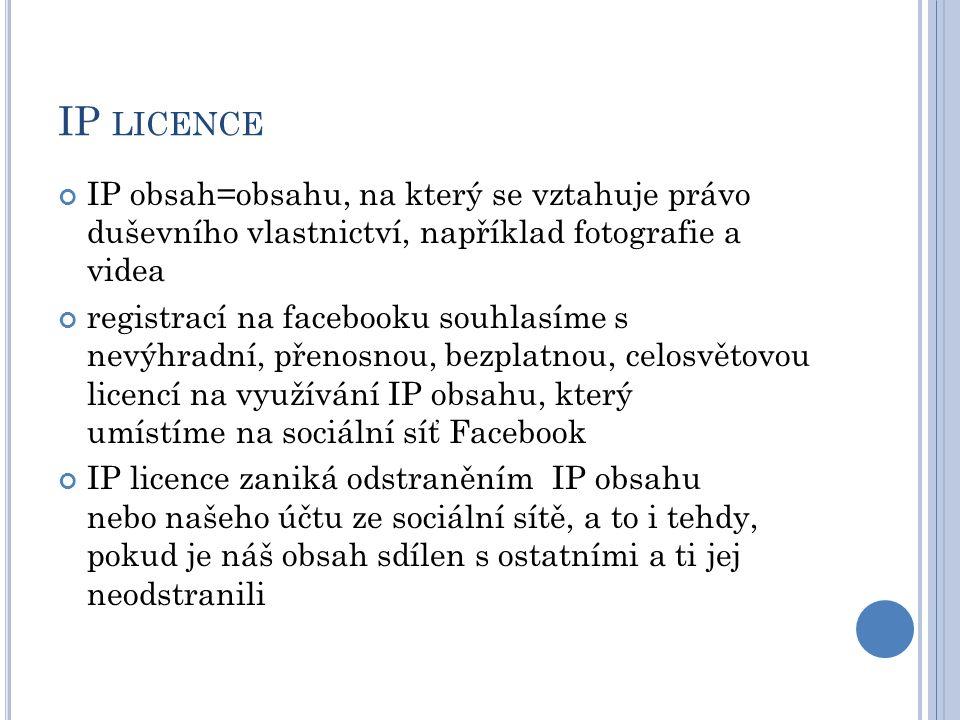 IP LICENCE IP obsah=obsahu, na který se vztahuje právo duševního vlastnictví, například fotografie a videa registrací na facebooku souhlasíme s nevýhr