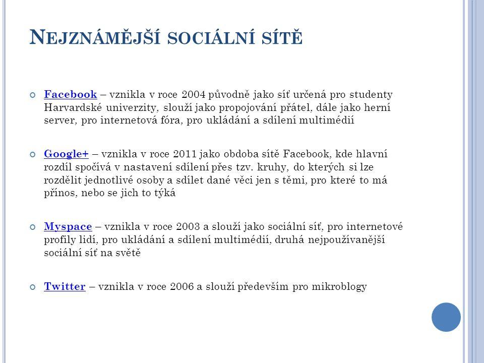 N EJZNÁMĚJŠÍ SOCIÁLNÍ SÍTĚ Facebook Facebook – vznikla v roce 2004 původně jako síť určená pro studenty Harvardské univerzity, slouží jako propojování přátel, dále jako herní server, pro internetová fóra, pro ukládání a sdílení multimédií Google+Google+ – vznikla v roce 2011 jako obdoba sítě Facebook, kde hlavní rozdíl spočívá v nastavení sdílení přes tzv.