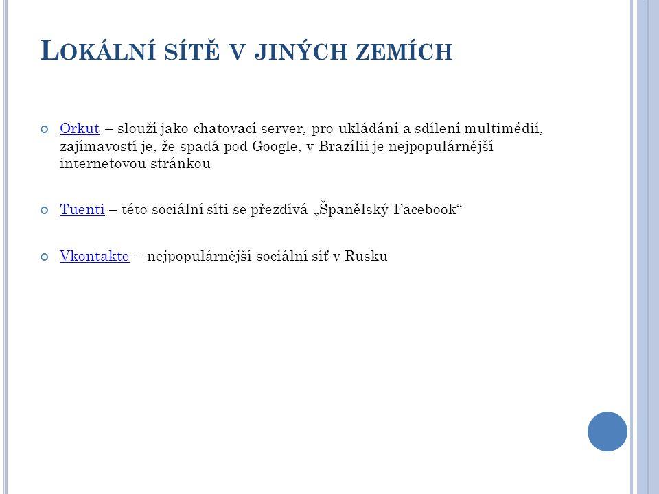 """L OKÁLNÍ SÍTĚ V JINÝCH ZEMÍCH OrkutOrkut – slouží jako chatovací server, pro ukládání a sdílení multimédií, zajímavostí je, že spadá pod Google, v Brazílii je nejpopulárnější internetovou stránkou TuentiTuenti – této sociální síti se přezdívá """"Španělský Facebook VkontakteVkontakte – nejpopulárnější sociální síť v Rusku"""