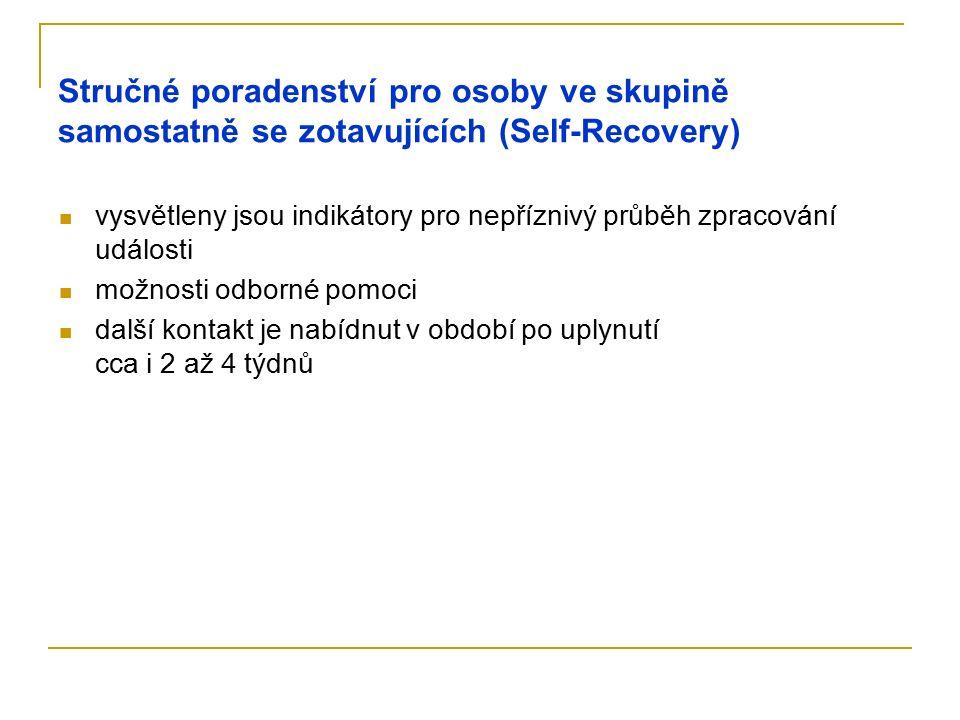 Stručné poradenství pro osoby ve skupině samostatně se zotavujících (Self-Recovery) vysvětleny jsou indikátory pro nepříznivý průběh zpracování událos