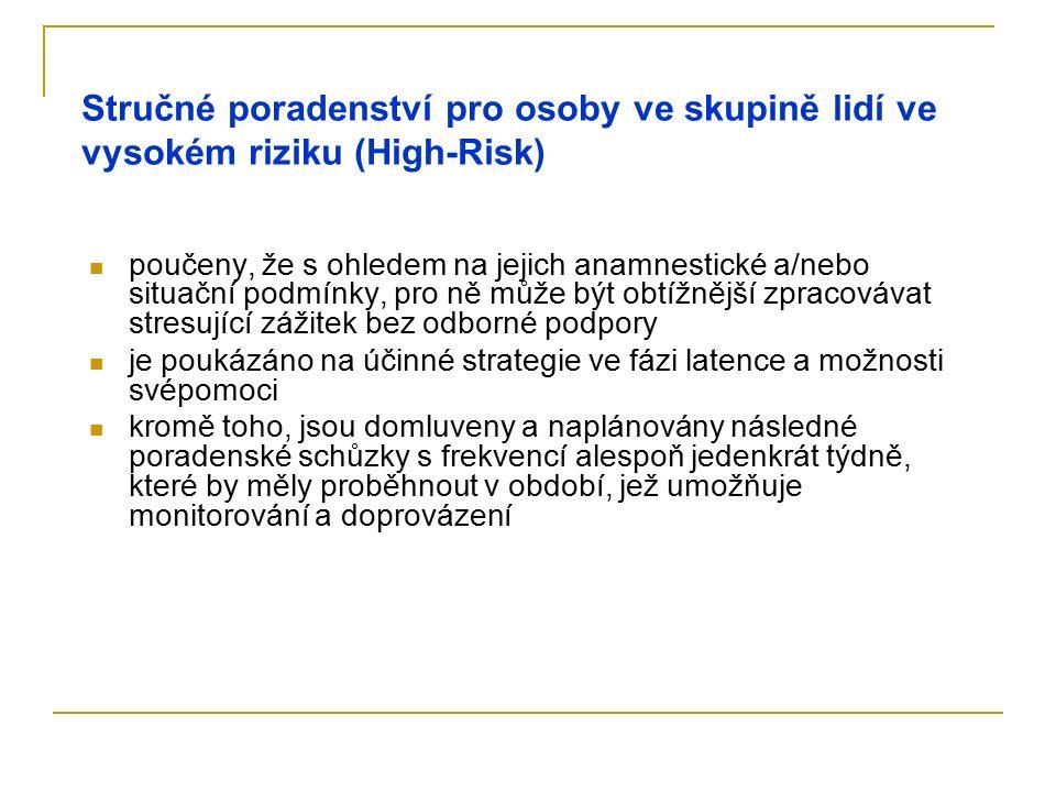 Stručné poradenství pro osoby ve skupině lidí ve vysokém riziku (High-Risk) poučeny, že s ohledem na jejich anamnestické a/nebo situační podmínky, pro