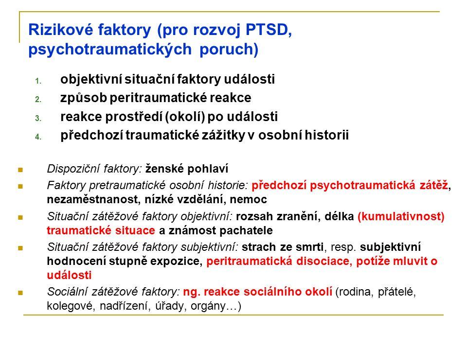 Rizikové faktory (pro rozvoj PTSD, psychotraumatických poruch) 1. objektivní situační faktory události 2. způsob peritraumatické reakce 3. reakce pros