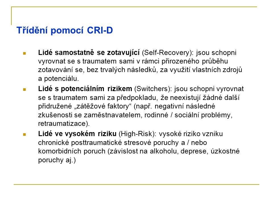 Třídění pomocí CRI-D Lidé samostatně se zotavující (Self-Recovery): jsou schopni vyrovnat se s traumatem sami v rámci přirozeného průběhu zotavování s
