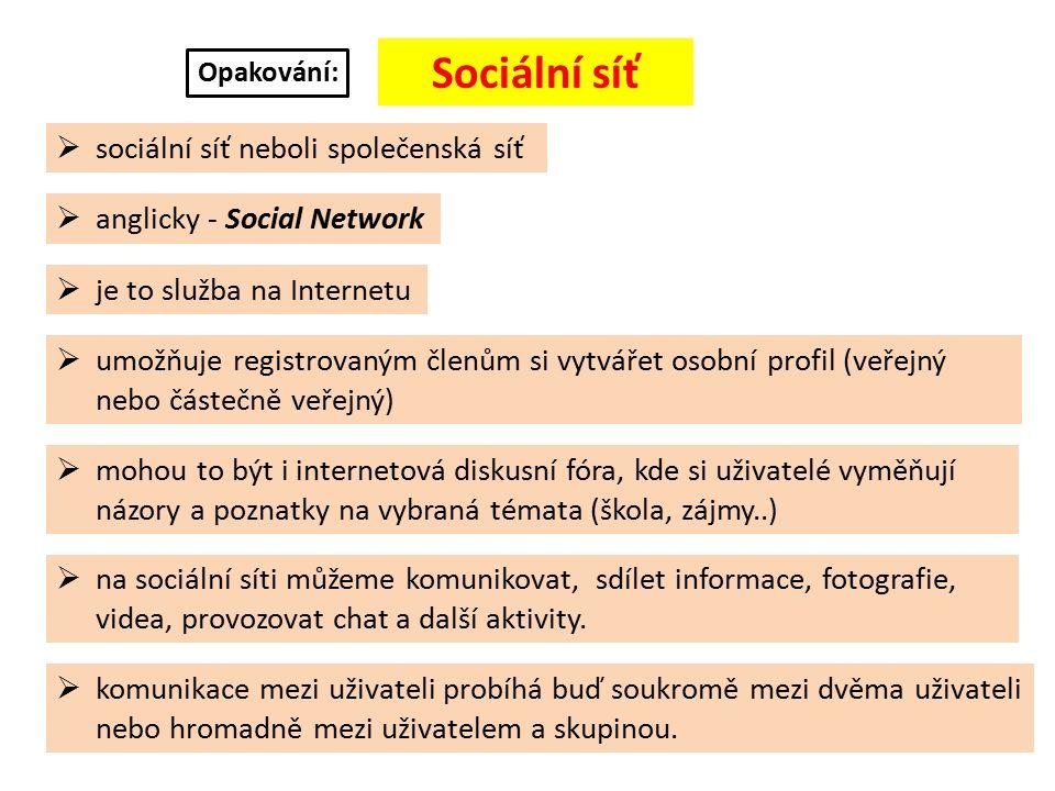 Příklady nejznámějších sociálních sítí