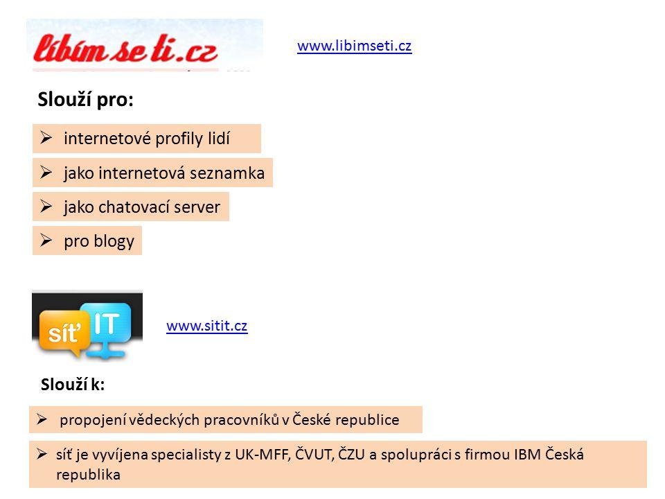 www.SportCentral.cz www.csfd.cz  slouží k vyhledávání sportovních zařízení, rekreačních sportovců, týmů, trenérů, a komunikaci mezi těmito skupinami  slouží jako sociální síť pro filmové fanoušky,  je to nejaktivnější filmový web v České republice