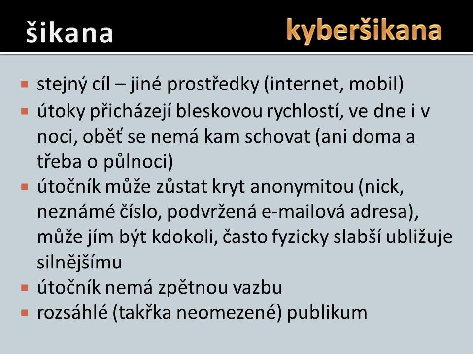  stejný cíl – jiné prostředky (internet, mobil)  útoky přicházejí bleskovou rychlostí, ve dne i v noci, oběť se nemá kam schovat (ani doma a třeba o půlnoci)  útočník může zůstat kryt anonymitou (nick, neznámé číslo, podvržená e-mailová adresa), může jím být kdokoli, často fyzicky slabší ubližuje silnějšímu  útočník nemá zpětnou vazbu  rozsáhlé (takřka neomezené) publikum