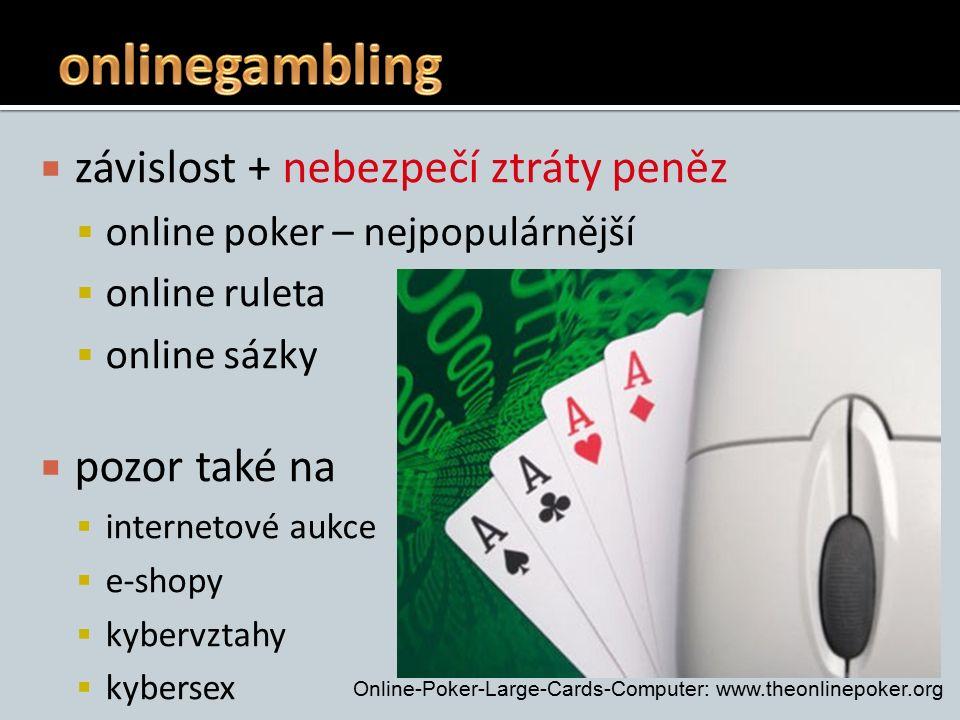  závislost + nebezpečí ztráty peněz  online poker – nejpopulárnější  online ruleta  online sázky  pozor také na  internetové aukce  e-shopy  kybervztahy  kybersex Online-Poker-Large-Cards-Computer: www.theonlinepoker.org
