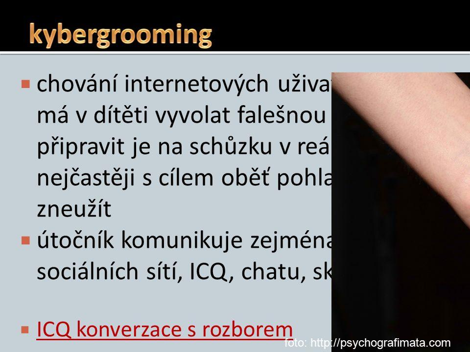  chování internetových uživatelů, které má v dítěti vyvolat falešnou důvěru a připravit je na schůzku v reálném světě, nejčastěji s cílem oběť pohlavně zneužít  útočník komunikuje zejména pomocí sociálních sítí, ICQ, chatu, skypu…  ICQ konverzace s rozborem ICQ konverzace s rozborem foto: http://psychografimata.com