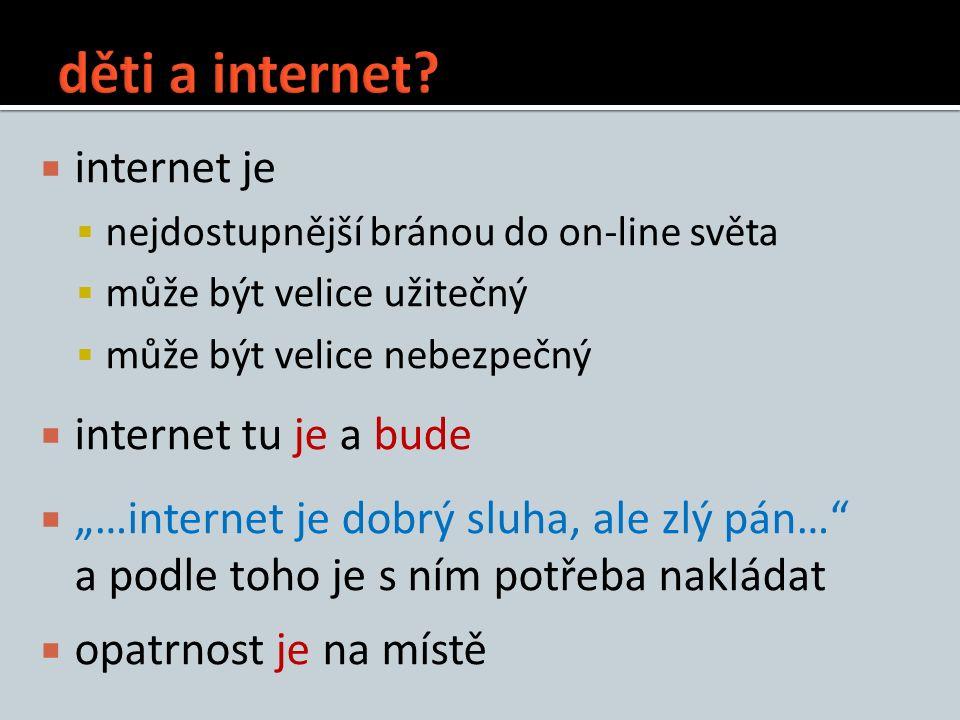 """ internet je  nejdostupnější bránou do on-line světa  může být velice užitečný  může být velice nebezpečný  internet tu je a bude  """"…internet je"""