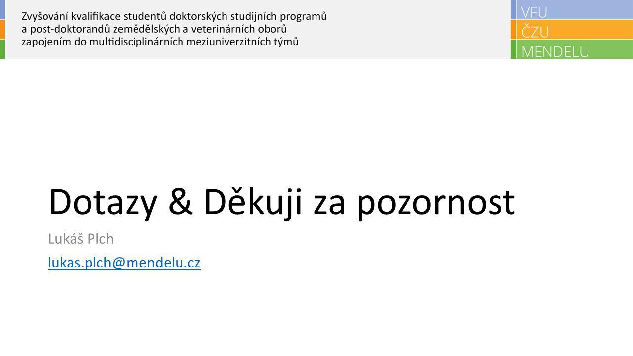 Dotazy & Děkuji za pozornost Lukáš Plch lukas.plch@mendelu.cz