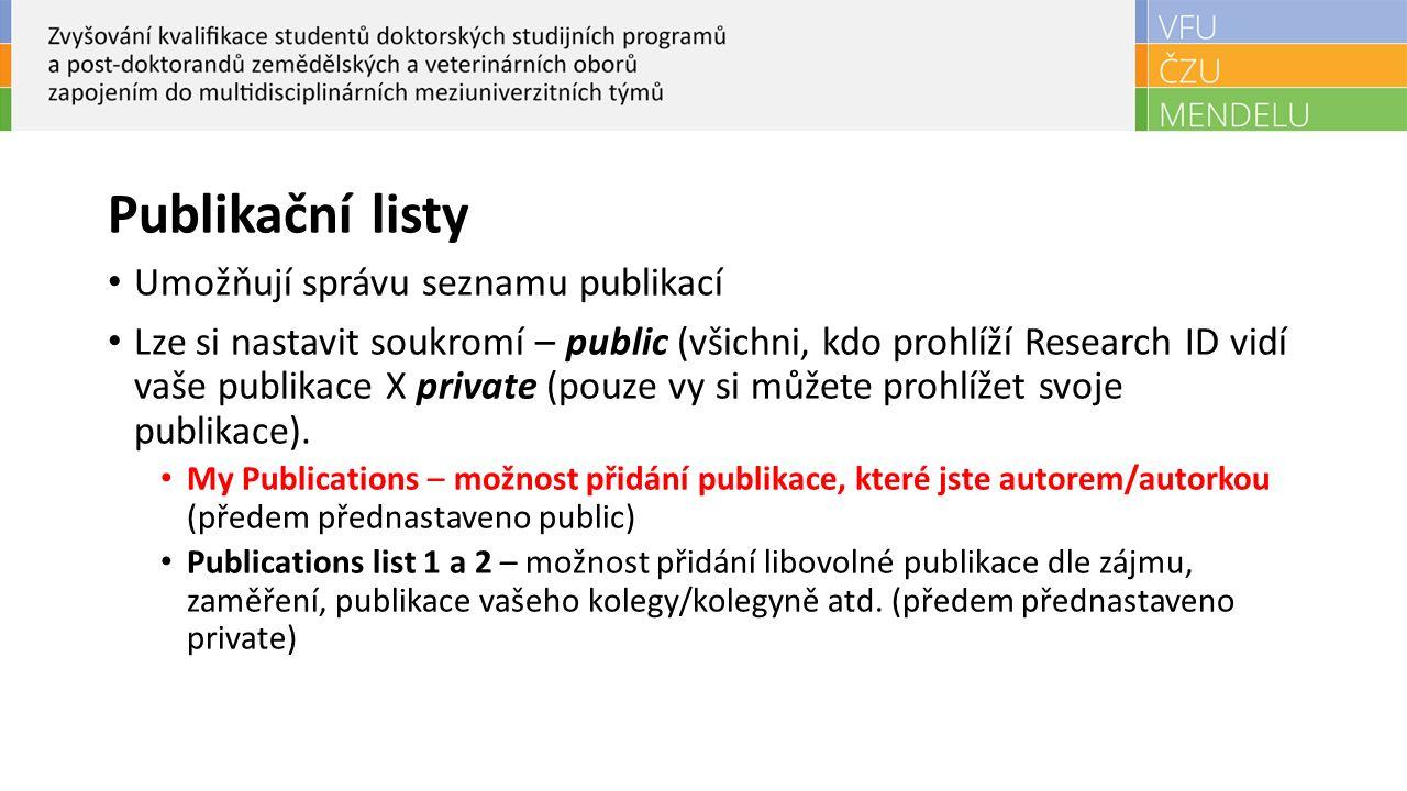 Publikační listy