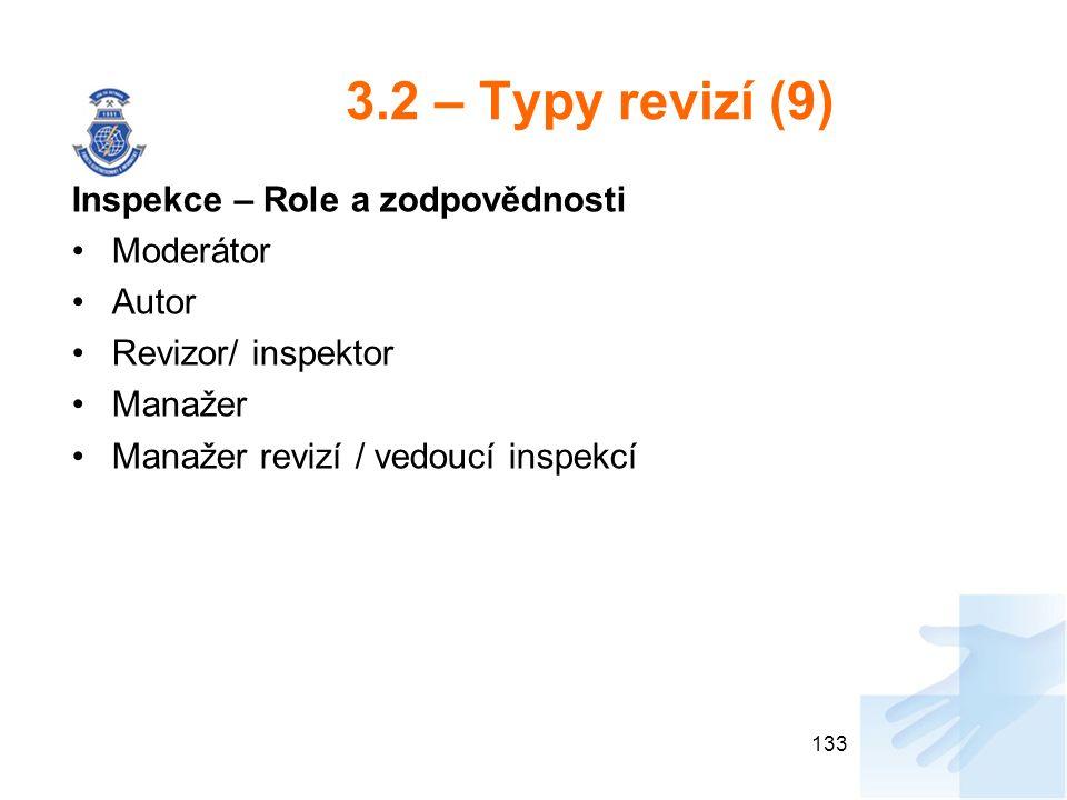 3.2 – Typy revizí (9) Inspekce – Role a zodpovědnosti Moderátor Autor Revizor/ inspektor Manažer Manažer revizí / vedoucí inspekcí 133