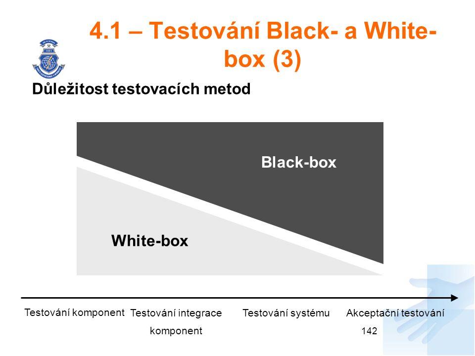 4.1 – Testování Black- a White- box (3) Důležitost testovacích metod 142 White-box Black-box Testování komponent Testování integrace komponent Testování systémuAkceptační testování
