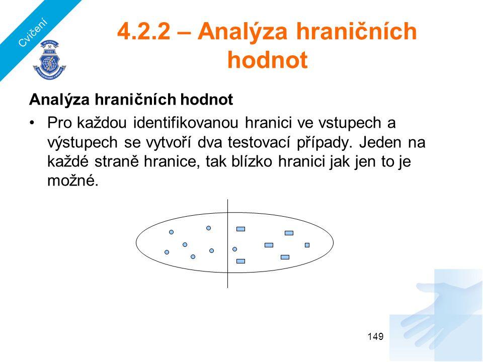 4.2.2 – Analýza hraničních hodnot Analýza hraničních hodnot Pro každou identifikovanou hranici ve vstupech a výstupech se vytvoří dva testovací případ
