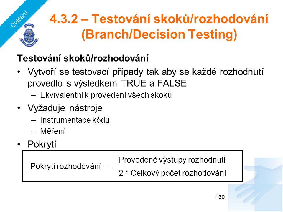 4.3.2 – Testování skoků/rozhodování (Branch/Decision Testing) Testování skoků/rozhodování Vytvoří se testovací případy tak aby se každé rozhodnutí provedlo s výsledkem TRUE a FALSE –Ekvivalentní k provedení všech skoků Vyžaduje nástroje –Instrumentace kódu –Měření Pokrytí 160 Provedené výstupy rozhodnutí 2 * Celkový počet rozhodování Pokrytí rozhodování = Cvičení